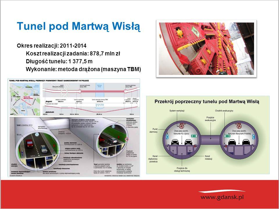 Tunel pod Martwą Wisłą Okres realizacji: 2011-2014 Koszt realizacji zadania: 878,7 mln zł Długość tunelu: 1 377,5 m Wykonanie: metoda drążona (maszyna
