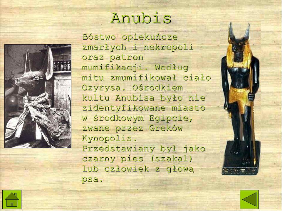 Anubis Bóstwo opiekuńcze zmarłych i nekropoli oraz patron mumifikacji.