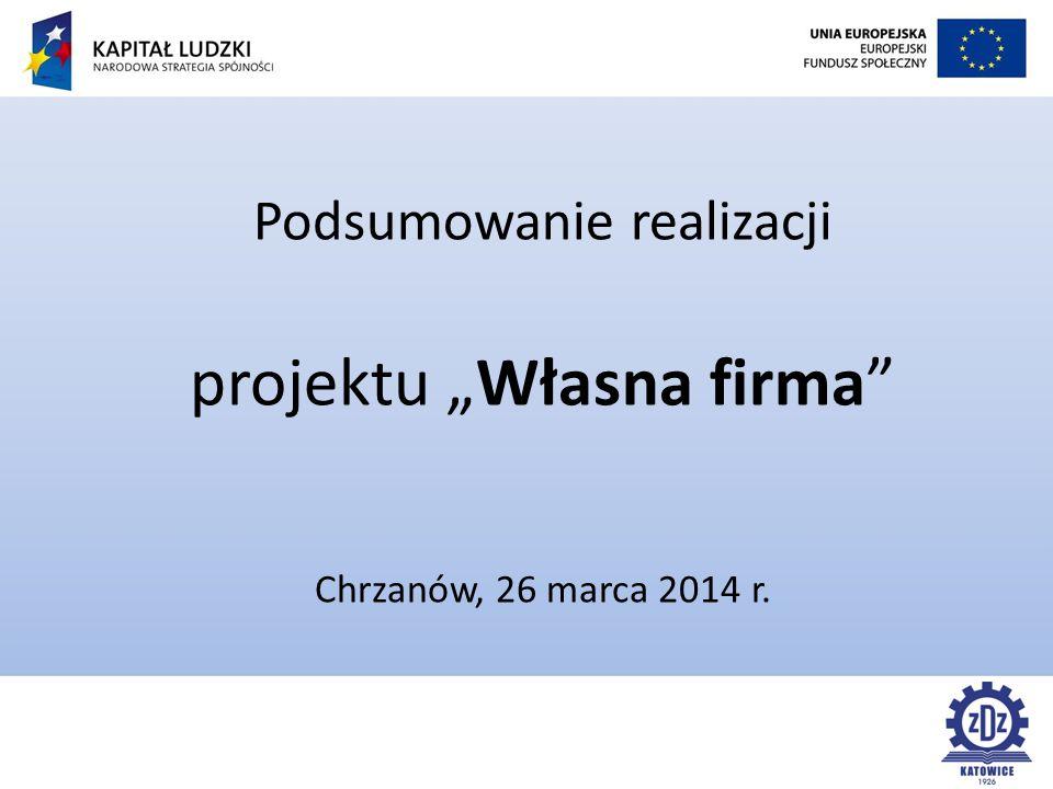 """Podsumowanie realizacji projektu """"Własna firma Chrzanów, 26 marca 2014 r."""