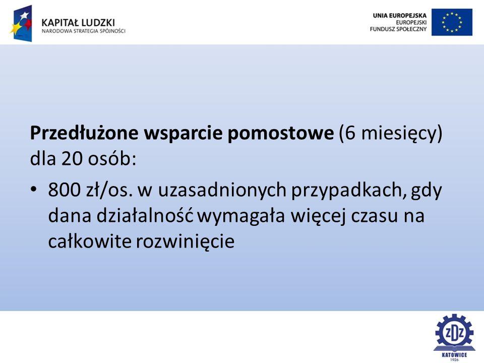 Przedłużone wsparcie pomostowe (6 miesięcy) dla 20 osób: 800 zł/os.