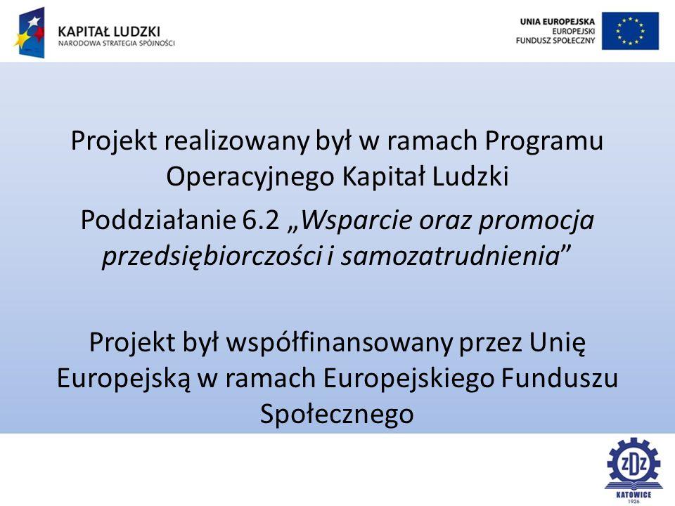 """Projekt realizowany był w ramach Programu Operacyjnego Kapitał Ludzki Poddziałanie 6.2 """"Wsparcie oraz promocja przedsiębiorczości i samozatrudnienia Projekt był współfinansowany przez Unię Europejską w ramach Europejskiego Funduszu Społecznego"""