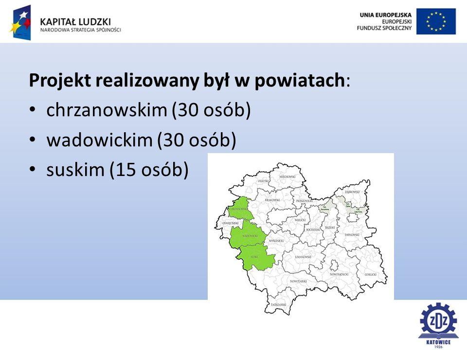 Projekt realizowany był w powiatach: chrzanowskim (30 osób) wadowickim (30 osób) suskim (15 osób)