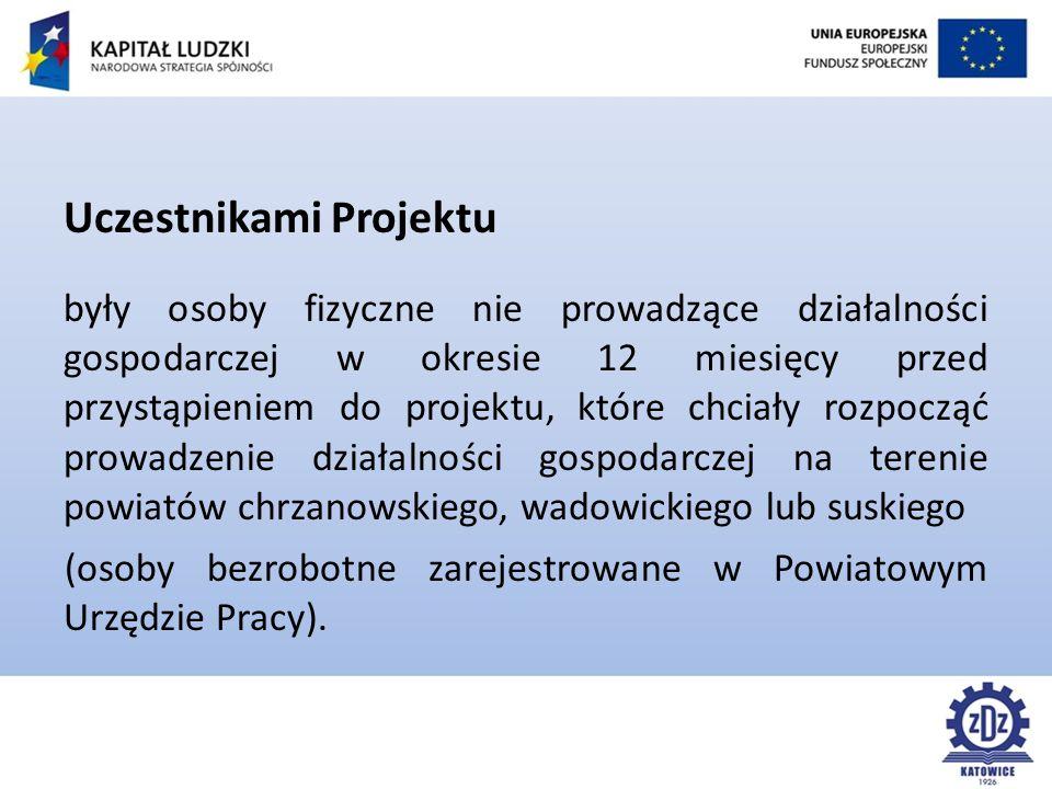 Uczestnikami Projektu były osoby fizyczne nie prowadzące działalności gospodarczej w okresie 12 miesięcy przed przystąpieniem do projektu, które chciały rozpocząć prowadzenie działalności gospodarczej na terenie powiatów chrzanowskiego, wadowickiego lub suskiego (osoby bezrobotne zarejestrowane w Powiatowym Urzędzie Pracy).