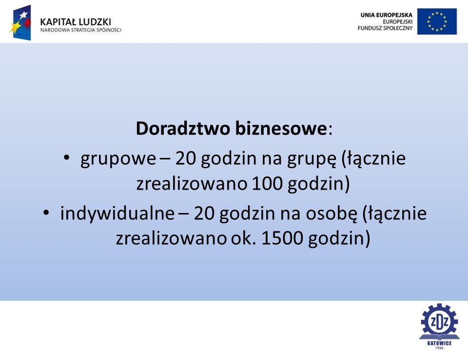 Doradztwo biznesowe: grupowe – 20 godzin na grupę (łącznie zrealizowano 100 godzin) indywidualne – 20 godzin na osobę (łącznie zrealizowano ok.