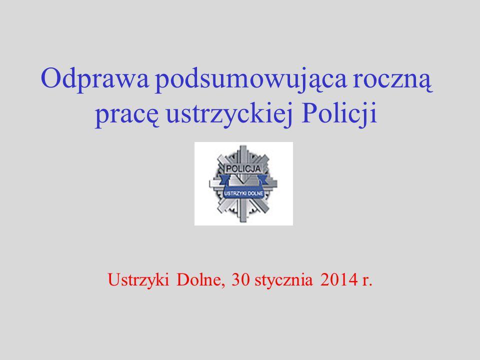 Odprawa podsumowująca roczną pracę ustrzyckiej Policji Ustrzyki Dolne, 30 stycznia 2014 r.