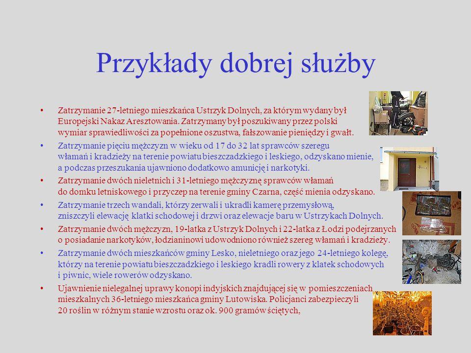 Przykłady dobrej służby Zatrzymanie 27-letniego mieszkańca Ustrzyk Dolnych, za którym wydany był Europejski Nakaz Aresztowania. Zatrzymany był poszuki