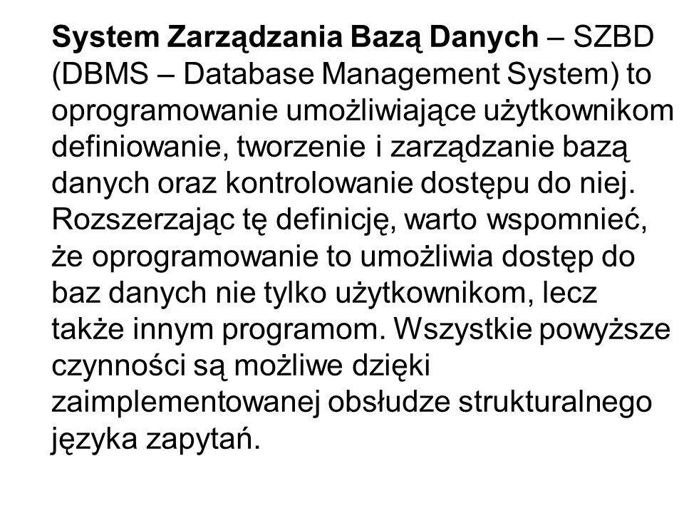 System Zarządzania Bazą Danych – SZBD (DBMS – Database Management System) to oprogramowanie umożliwiające użytkownikom definiowanie, tworzenie i zarzą