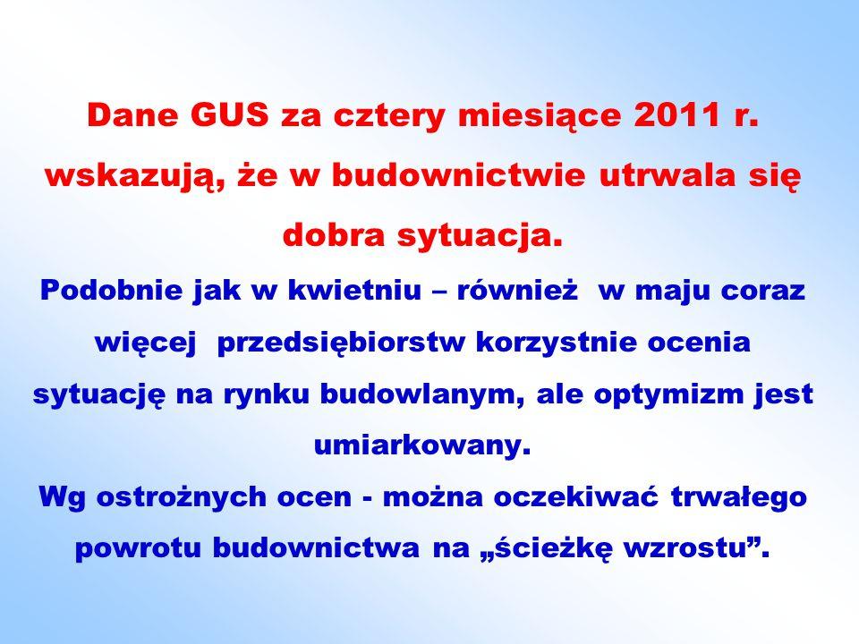 Dane GUS za cztery miesiące 2011 r. wskazują, że w budownictwie utrwala się dobra sytuacja.