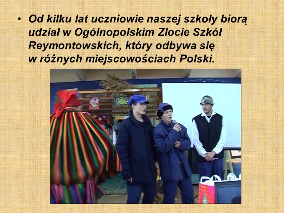 Od kilku lat uczniowie naszej szkoły biorą udział w Ogólnopolskim Zlocie Szkół Reymontowskich, który odbywa się w różnych miejscowościach Polski.