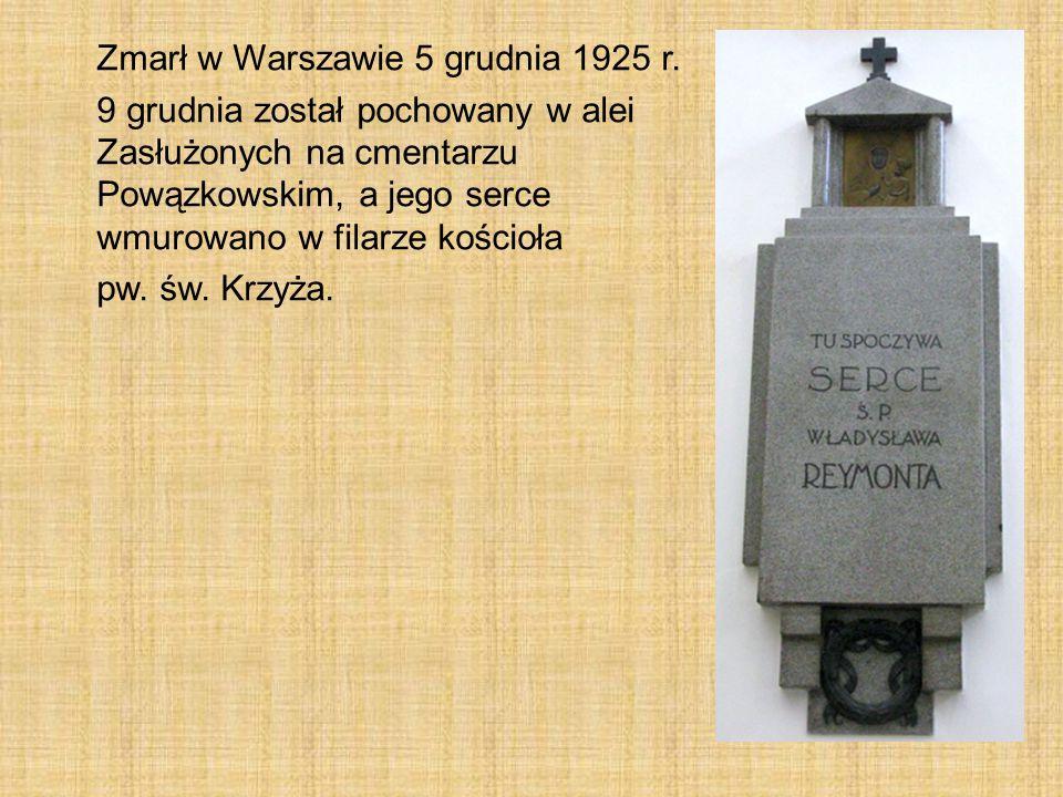 Zmarł w Warszawie 5 grudnia 1925 r. 9 grudnia został pochowany w alei Zasłużonych na cmentarzu Powązkowskim, a jego serce wmurowano w filarze kościoła