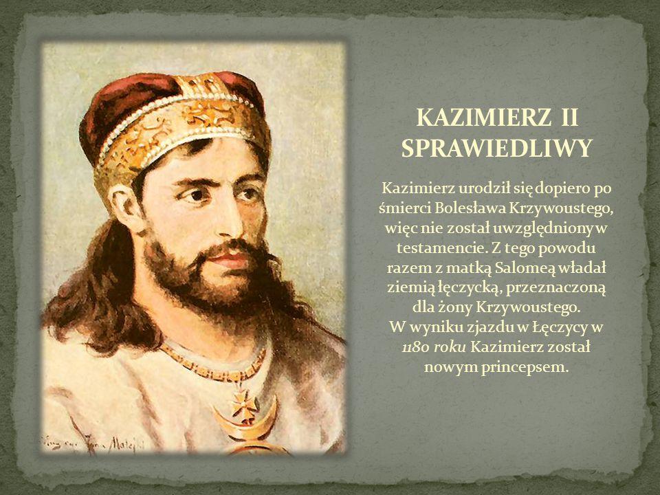 Kazimierz urodził się dopiero po śmierci Bolesława Krzywoustego, więc nie został uwzględniony w testamencie. Z tego powodu razem z matką Salomeą włada