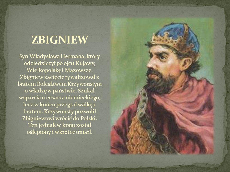 Syn Władysława Hermana, który odziedziczył po ojcu Kujawy, Wielkopolskę i Mazowsze. Zbigniew zacięcie rywalizował z bratem Bolesławem Krzywoustym o wł
