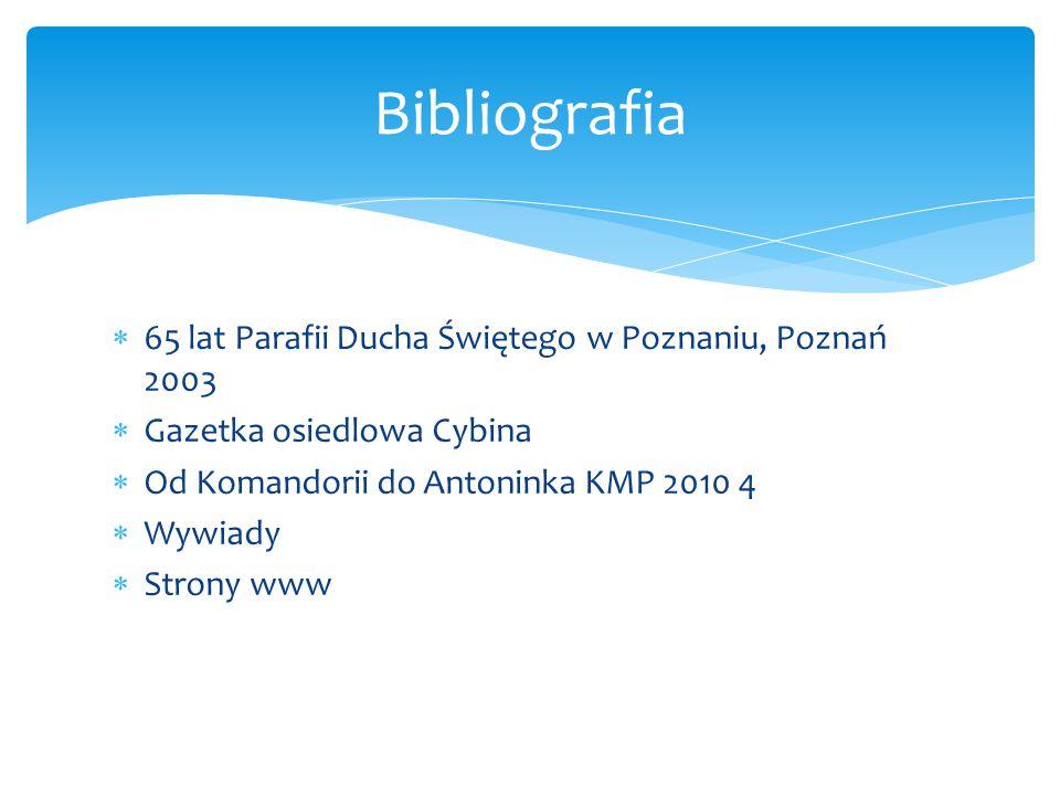  65 lat Parafii Ducha Świętego w Poznaniu, Poznań 2003  Gazetka osiedlowa Cybina  Od Komandorii do Antoninka KMP 2010 4  Wywiady  Strony www Bibl