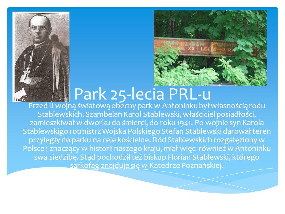 Park 25-lecia PRL-u Przed II wojną światową obecny park w Antoninku był własnością rodu Stablewskich. Szambelan Karol Stablewski, właściciel posiadłoś