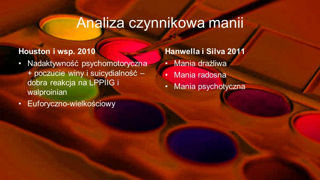 Kryteria i problemy diagnostyczne manii z cechami psychotycznymi wg DSM-IV Kryteria diagnostyczne Rozpoznanie manii ze współistniejącymi w czasie jej