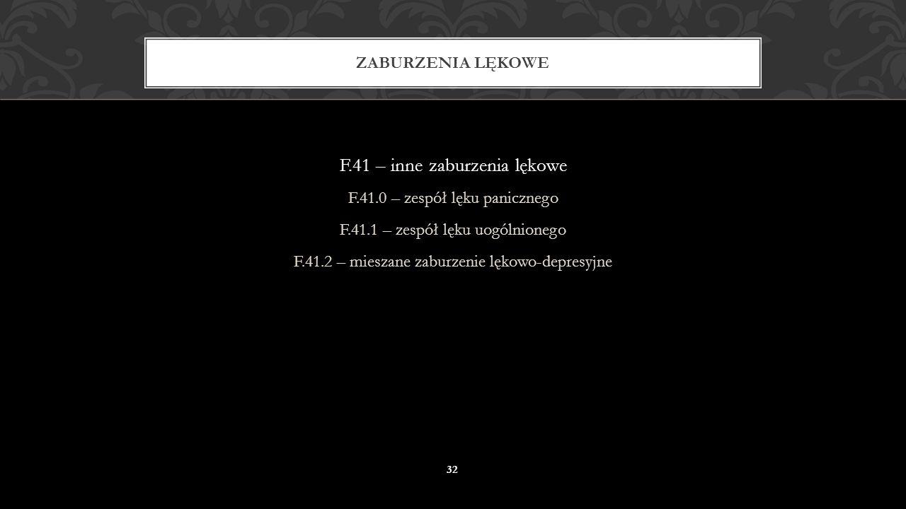 F.40 – fobie: F.40.0 – agorafobia F.40.1 – fobia socjalna F.40.2 – fobie specyficzne ZABURZENIA LĘKOWE 31