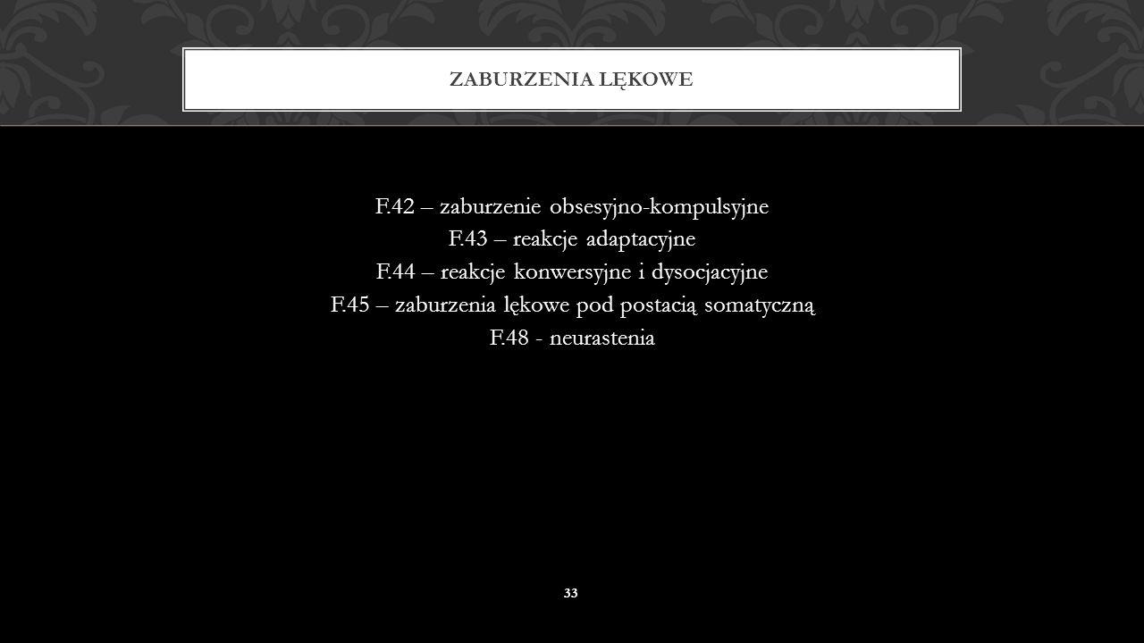 F.41 – inne zaburzenia lękowe F.41.0 – zespół lęku panicznego F.41.1 – zespół lęku uogólnionego F.41.2 – mieszane zaburzenie lękowo-depresyjne ZABURZE