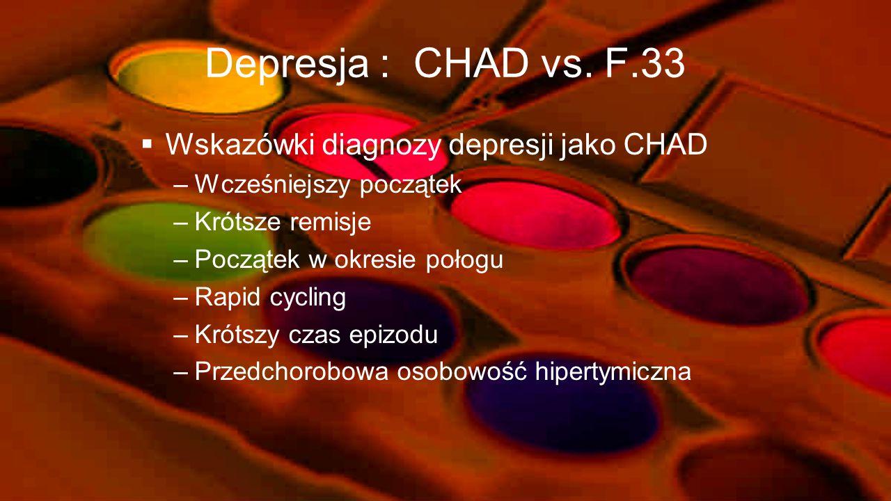 Kłopoty diagnostyczne – BD vs. UD [Goodwin i Jamison-1990] Wiek zachorowaniaBD<UD K/MUD>BD Pozytywny wywiad rodzinny co do UDBD=UD Pozytywny wywiad ro
