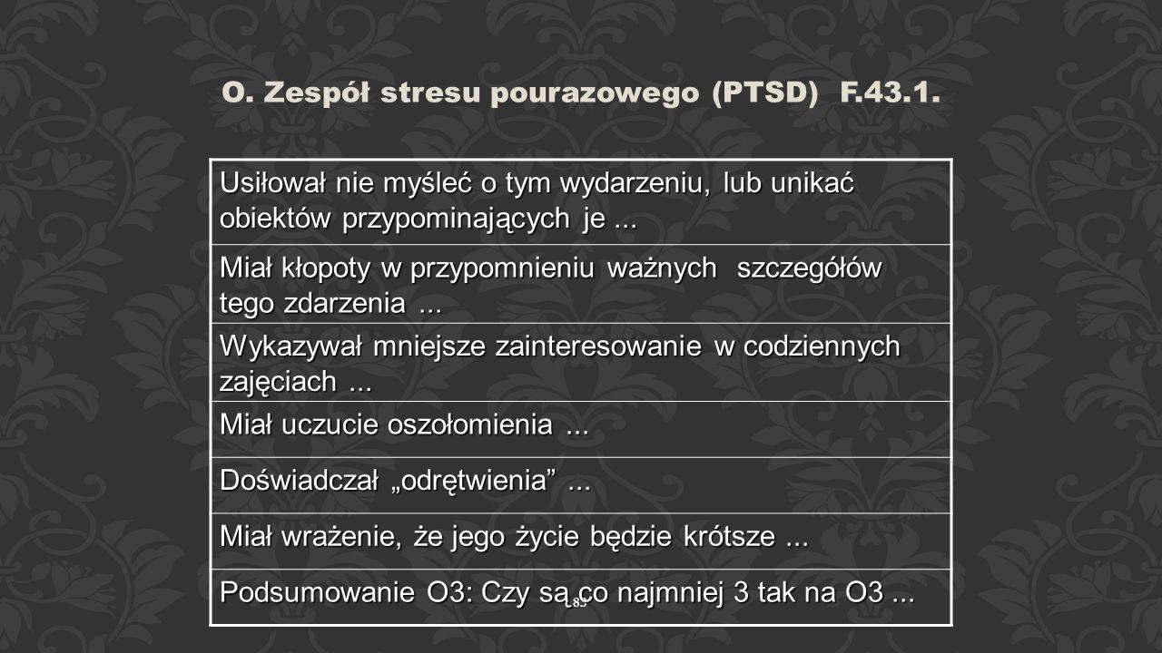 82 O. Zespół stresu pourazowego (PTSD) F.43.1. Pacjent doświadczył urazowego lub stresującego wydarzenia... (jakiego: W ciągu ostatniego miesiąca powt