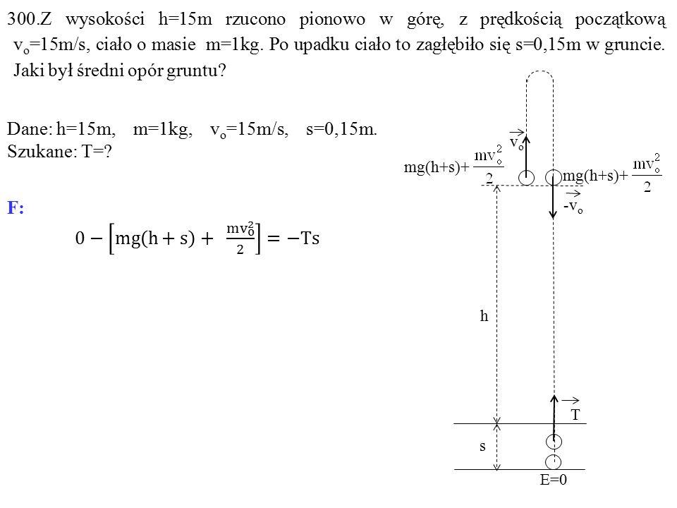 vovo h -v o T s E=0 mg(h+s)+