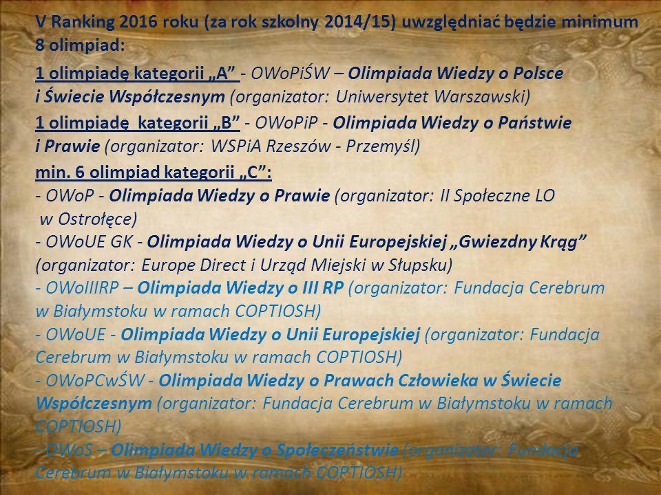 """V Ranking 2016 roku (za rok szkolny 2014/15) uwzględniać będzie minimum 8 olimpiad: 1 olimpiadę kategorii """"A"""" - OWoPiŚW – Olimpiada Wiedzy o Polsce i"""