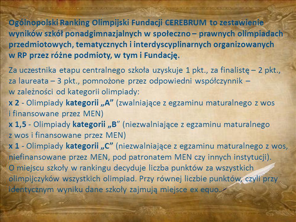 Ogólnopolski Ranking Olimpijski Fundacji CEREBRUM to zestawienie wyników szkół ponadgimnazjalnych w społeczno – prawnych olimpiadach przedmiotowych, t