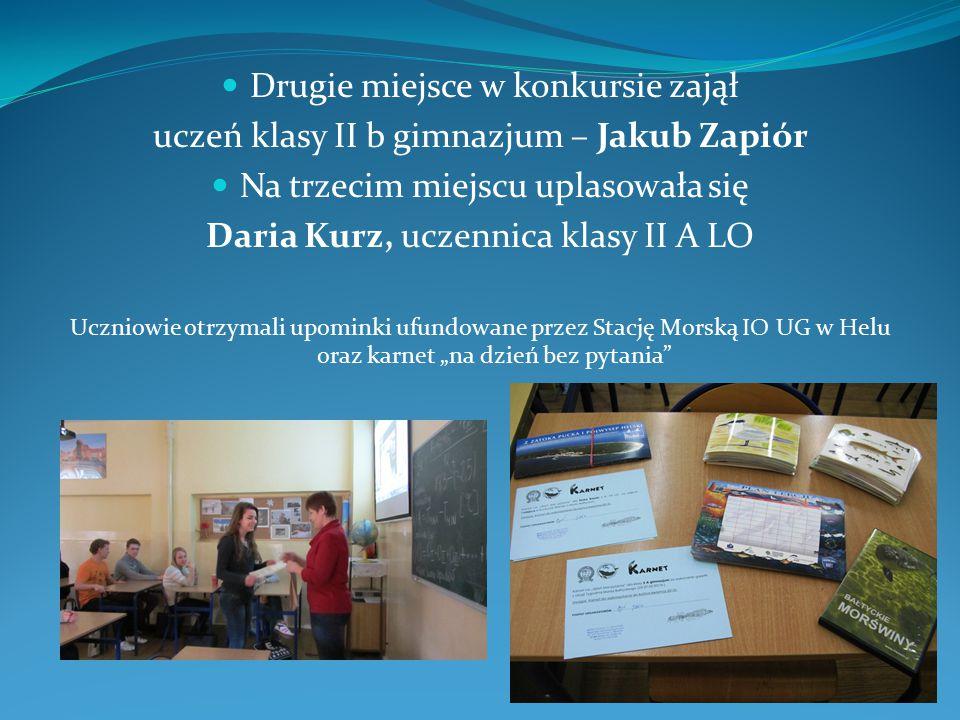 Drugie miejsce w konkursie zajął uczeń klasy II b gimnazjum – Jakub Zapiór Na trzecim miejscu uplasowała się Daria Kurz, uczennica klasy II A LO Uczni