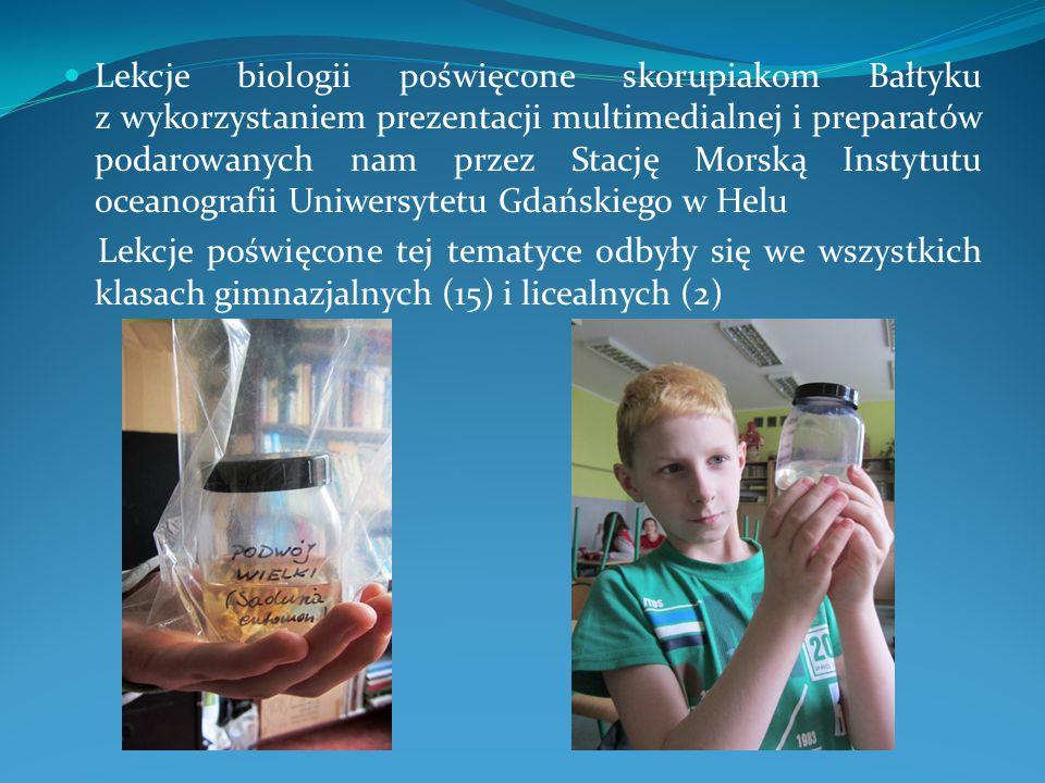 Lekcje biologii poświęcone skorupiakom Bałtyku z wykorzystaniem prezentacji multimedialnej i preparatów podarowanych nam przez Stację Morską Instytutu
