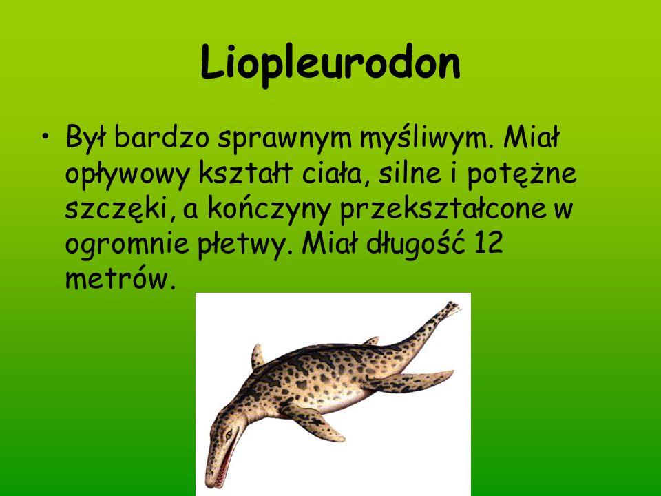 Liopleurodon Był bardzo sprawnym myśliwym. Miał opływowy kształt ciała, silne i potężne szczęki, a kończyny przekształcone w ogromnie płetwy. Miał dłu