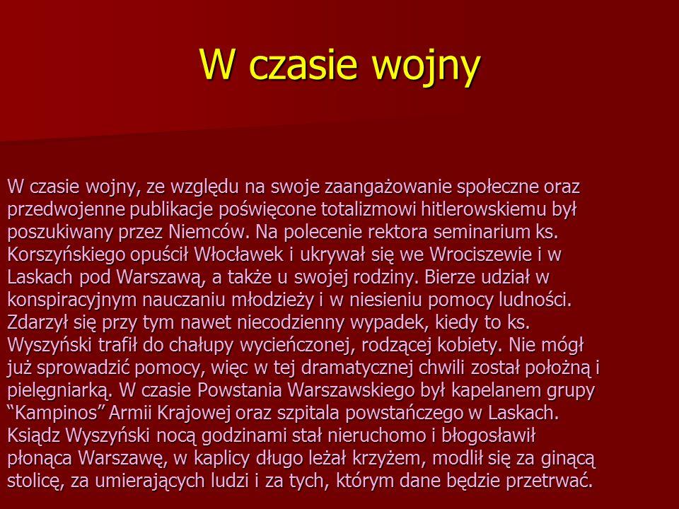 Po wojnie Po zakończeniu działań wojennych wrócił do Włocławka i zaczął organizować Seminarium Duchowne zniszczone w czasie wojny.