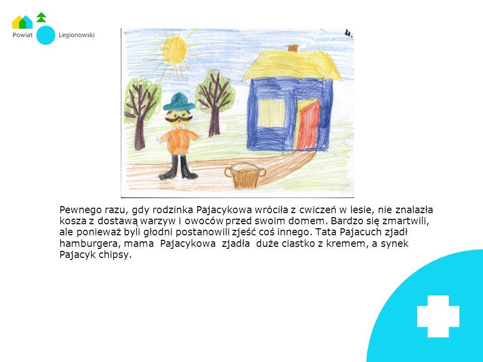 Pewnego razu, gdy rodzinka Pajacykowa wróciła z cwiczeń w lesie, nie znalazła kosza z dostawą warzyw i owoców przed swoim domem. Bardzo się zmartwili,
