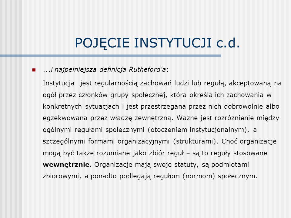 POJĘCIE INSTYTUCJI c.d....