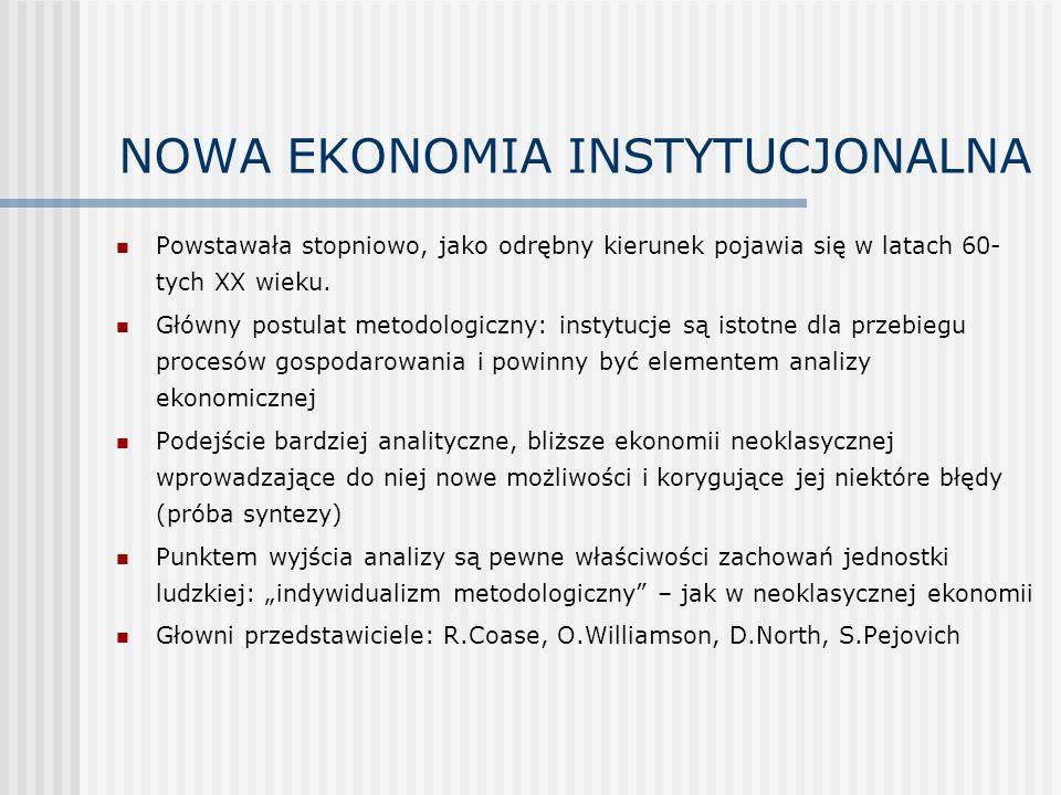 NOWA EKONOMIA INSTYTUCJONALNA c.d.