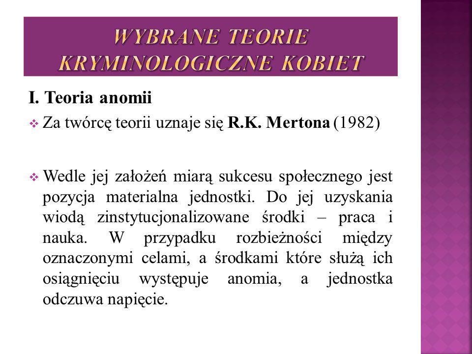 I. Teoria anomii  Za twórcę teorii uznaje się R.K. Mertona (1982)  Wedle jej założeń miarą sukcesu społecznego jest pozycja materialna jednostki. Do