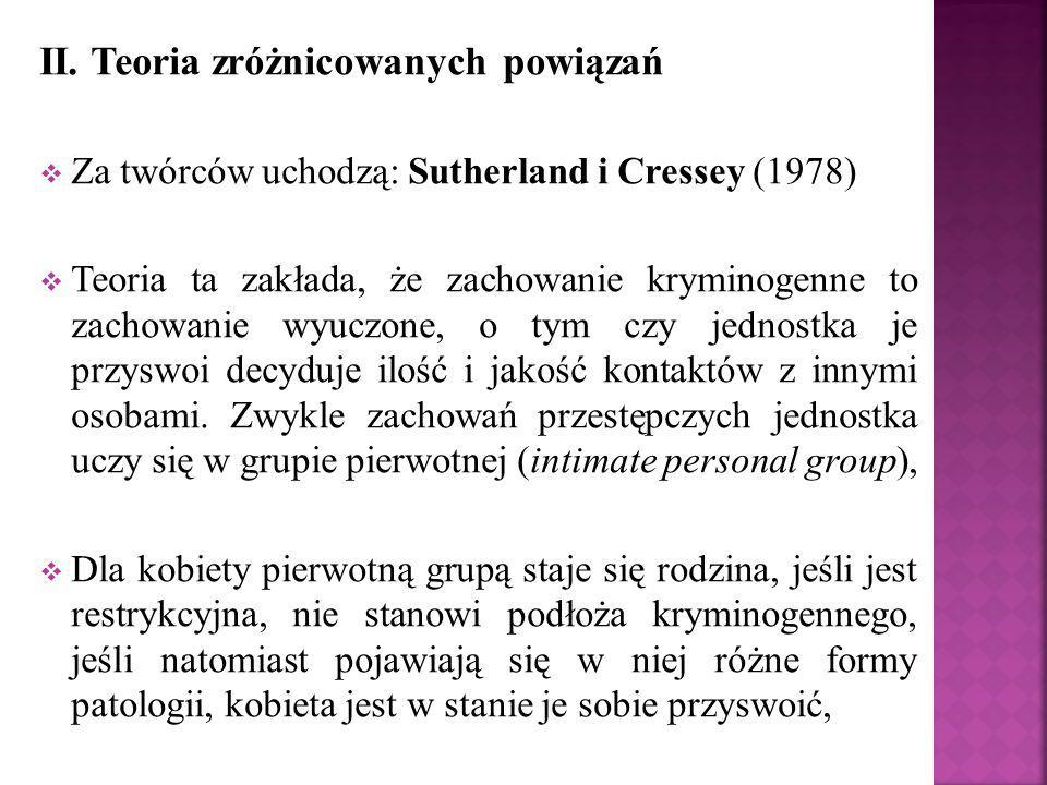 II. Teoria zróżnicowanych powiązań  Za twórców uchodzą: Sutherland i Cressey (1978)  Teoria ta zakłada, że zachowanie kryminogenne to zachowanie wyu