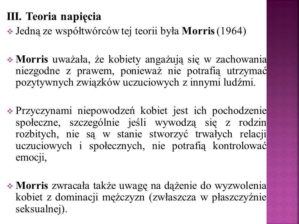 III. Teoria napięcia  Jedną ze współtwórców tej teorii była Morris (1964)  Morris uważała, że kobiety angażują się w zachowania niezgodne z prawem,