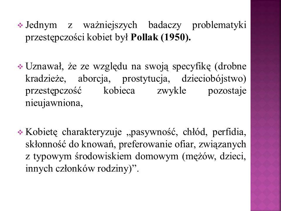  Jednym z ważniejszych badaczy problematyki przestępczości kobiet był Pollak (1950).  Uznawał, że ze względu na swoją specyfikę (drobne kradzieże, a