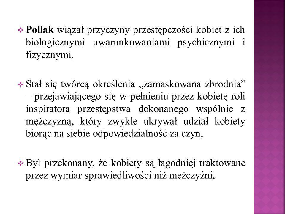""" Pollak wiązał przyczyny przestępczości kobiet z ich biologicznymi uwarunkowaniami psychicznymi i fizycznymi,  Stał się twórcą określenia """"zamaskowa"""