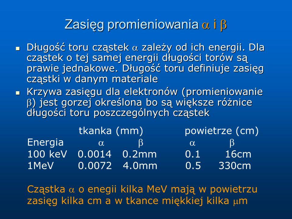 Zasięg promieniowania  i  Długość toru cząstek  zależy od ich energii. Dla cząstek o tej samej energii długości torów są prawie jednakowe. Długość
