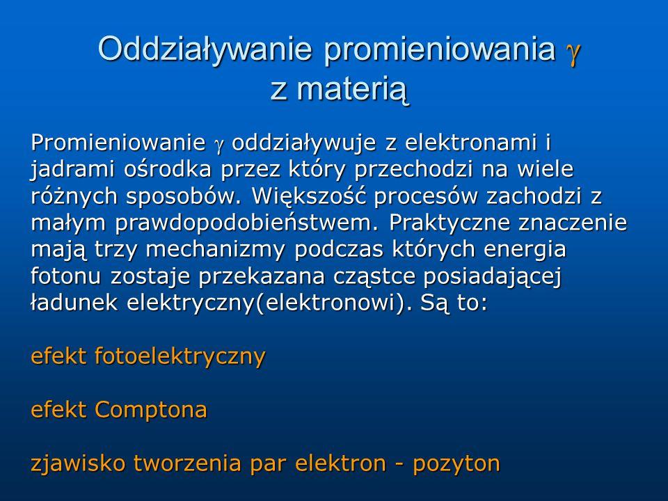 Oddziaływanie promieniowania  z materią Promieniowanie  oddziaływuje z elektronami i jadrami ośrodka przez który przechodzi na wiele różnych sposobó