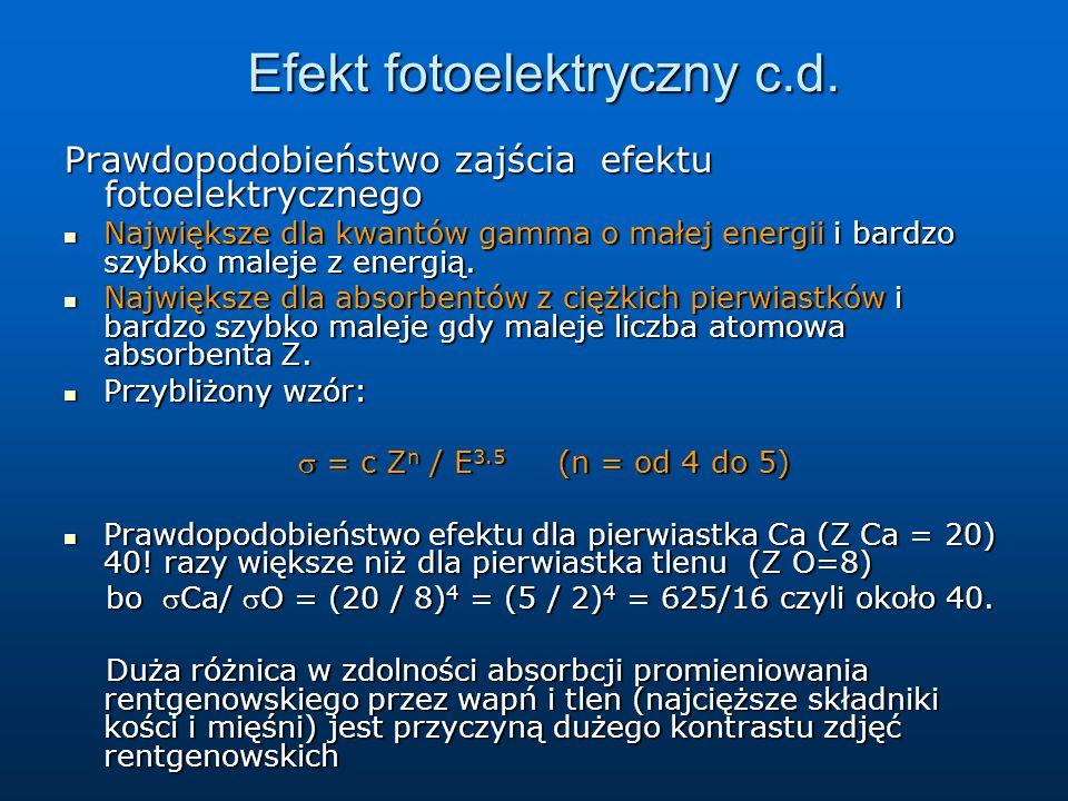 Efekt fotoelektryczny c.d. Prawdopodobieństwo zajścia efektu fotoelektrycznego Największe dla kwantów gamma o małej energii i bardzo szybko maleje z e