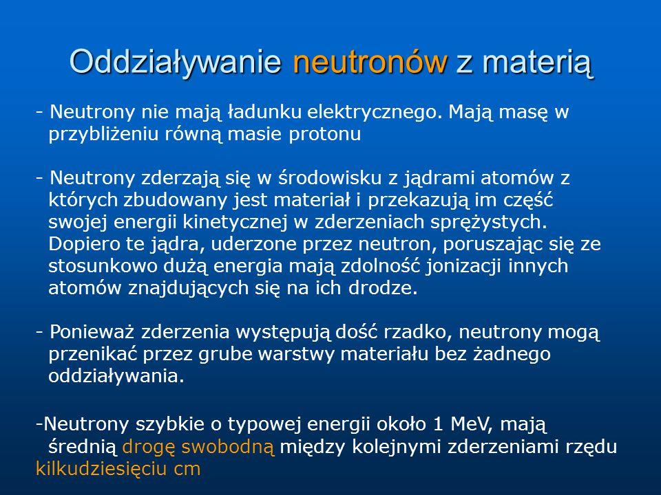 Oddziaływanie neutronów z materią - Neutrony nie mają ładunku elektrycznego. Mają masę w przybliżeniu równą masie protonu - Neutrony zderzają się w śr