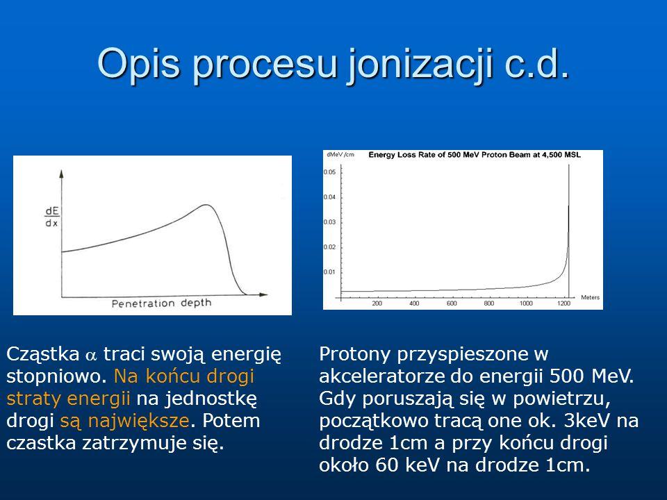 Opis procesu jonizacji c.d. Cząstka  traci swoją energię stopniowo. Na końcu drogi straty energii na jednostkę drogi są największe. Potem czastka zat
