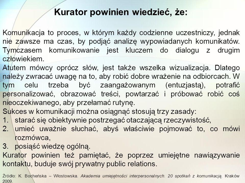 Wiedza ogólna o komunikacji Kurator powinien charakteryzować się elementarną, ogólną wiedzą odnośnie: 1.Form komunikowania a) komunikowanie werbalne b) komunikowanie niewerbalne 2.