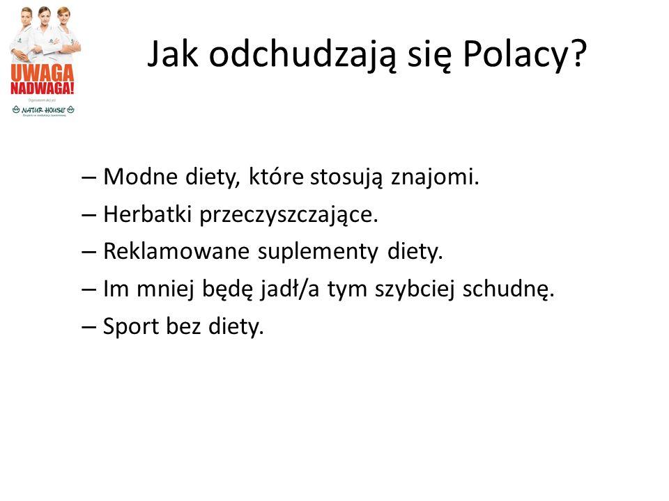 Jak odchudzają się Polacy? – Modne diety, które stosują znajomi. – Herbatki przeczyszczające. – Reklamowane suplementy diety. – Im mniej będę jadł/a t