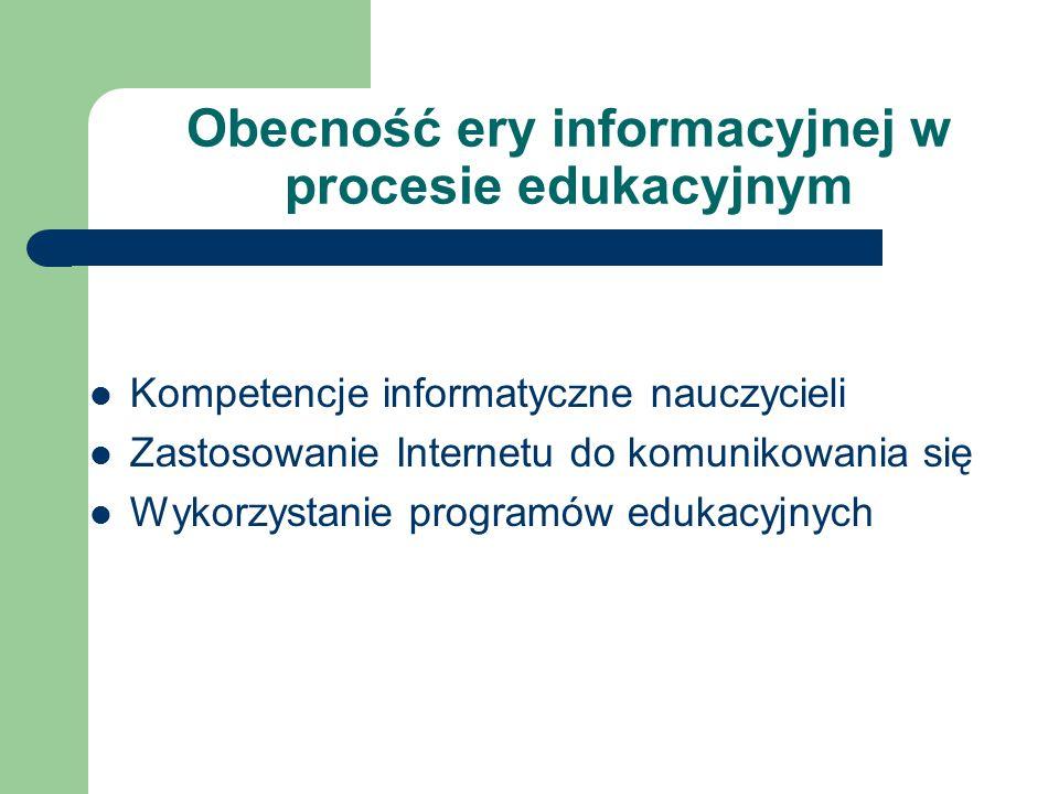 Obecność ery informacyjnej w procesie edukacyjnym Kompetencje informatyczne nauczycieli Zastosowanie Internetu do komunikowania się Wykorzystanie programów edukacyjnych