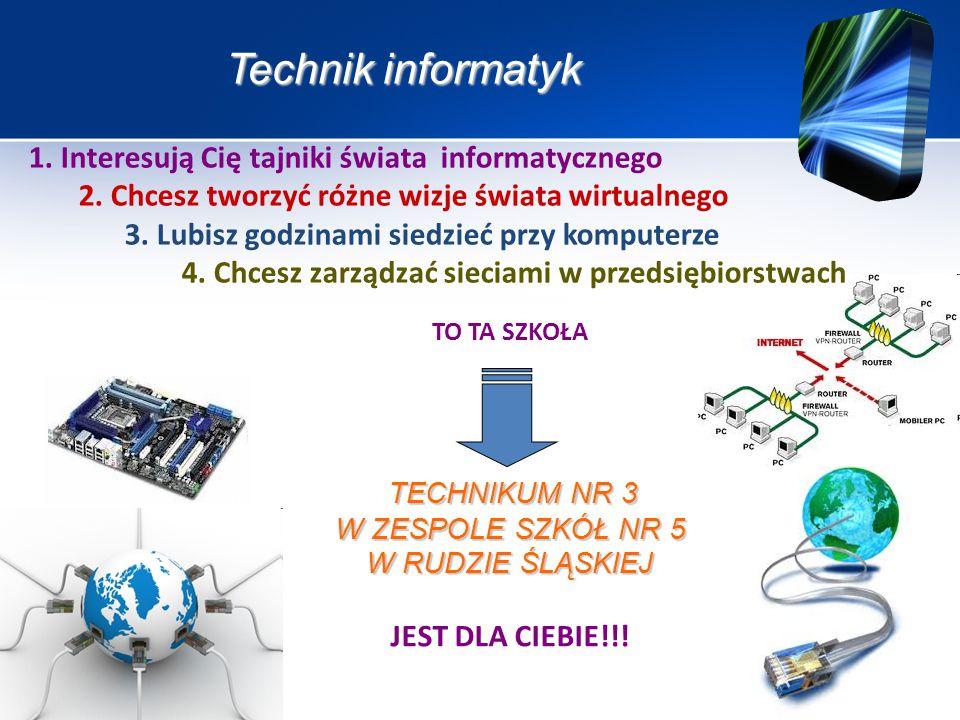 CELE KSZTAŁCENIA W ZAWODZIE: Absolwent szkoły kształcącej w zawodzie technik informatyk powinien być przygotowany do wykonywania następujących zadań zawodowych: 1) montowania oraz eksploatacji komputera i urządzeń peryferyjnych; 2) projektowania i wykonywania lokalnych sieci komputerowych, administrowania tymi sieciami; 3) projektowania baz danych i administrowania bazami danych; 4) tworzenia stron www i aplikacji internetowych, administrowania tymi stronami i aplikacjami.
