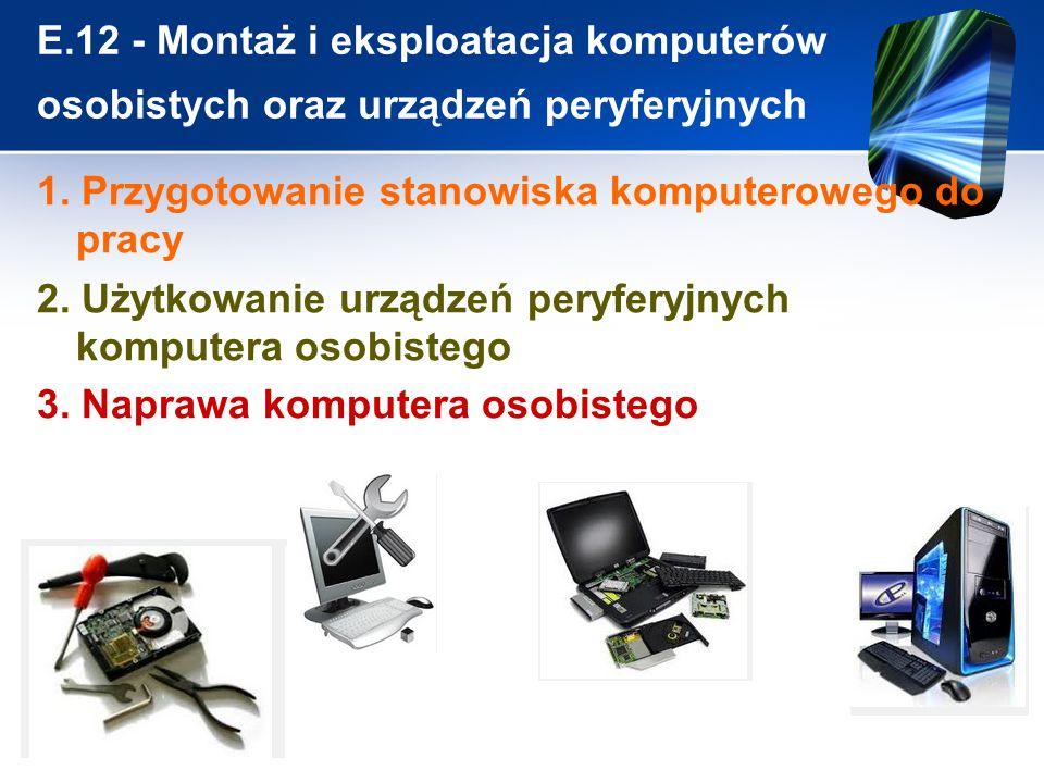 E.12 - Montaż i eksploatacja komputerów osobistych oraz urządzeń peryferyjnych 1. Przygotowanie stanowiska komputerowego do pracy 2. Użytkowanie urząd
