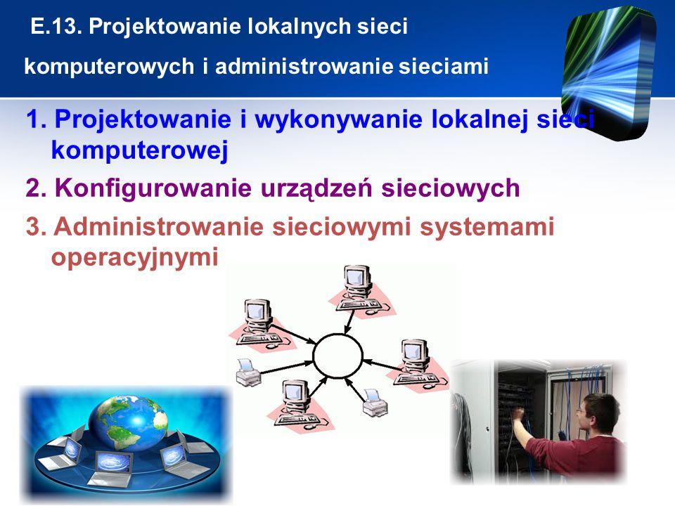 E.13. Projektowanie lokalnych sieci komputerowych i administrowanie sieciami 1. Projektowanie i wykonywanie lokalnej sieci komputerowej 2. Konfigurowa