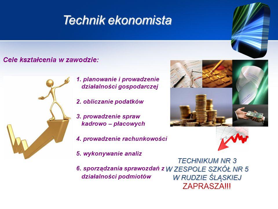 Technik ekonomista TECHNIKUM NR 3 W ZESPOLE SZKÓŁ NR 5 W RUDZIE ŚLĄSKIEJ ZAPRASZA!!.